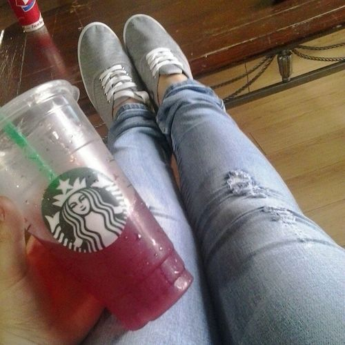 Feeling classy Starbucks Shakenicetea Yummm  Fancy newkicks fabulous