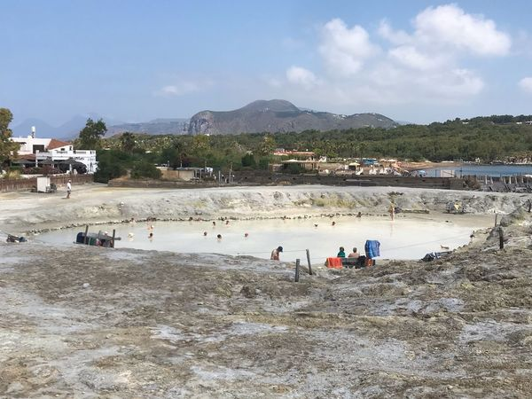 Note the Natural Mud of Sulfur, Impressive directly from the Crater, The Mud and hot at 32 degrees. Mud Fango Crater Sulfur  Water Beach Crowd Real People Sky Nature Large Group Of People Vacations Leisure Activity A New Beginning EyeEmNewHere