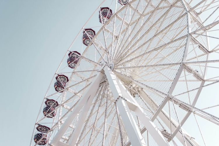 To the Skies ! Wonderful Wonder Pretty Amusement Park Ride Amusement Park Low Angle View Built Structure Arts Culture And Entertainment Ferris Wheel Architecture Design Leisure Activity Outdoors Pattern City Travel Destinations Sky Ceiling Clear Sky Day Shape EyeEmNewHere