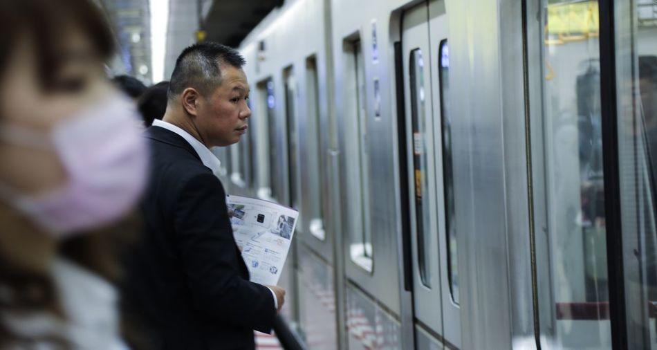 Tokyo,Japan Subway Station Train Public Transportation Businessman Rail Transportation Business