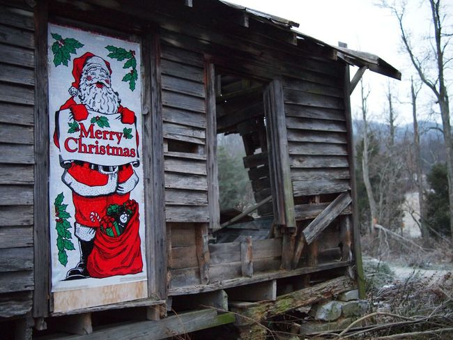 Appalachian Appalachia Derelict Building Derelict Old Cabin Wooden Cabin Santa Christmas Decoration Architecture Day No People Text Built Structure Plant Building