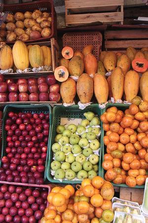 Brazil Brazilian Fruits Orange Abundance Food Food And Drink Freshness Fruit Healthy Eating Large Group Of Objects Melon No People Papaya Pear Plum Tangerine Vegan Vegetable