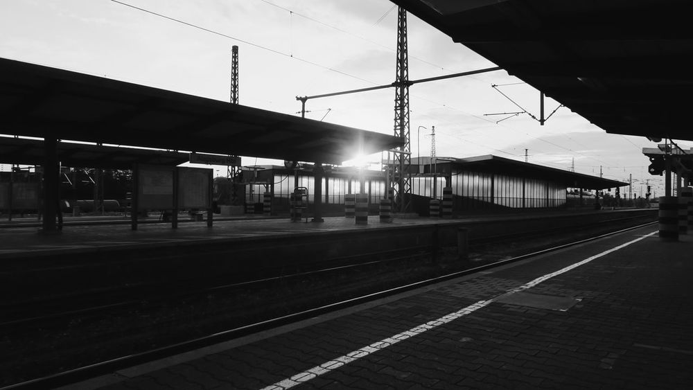 Augsburg Augsburgcity Bavaria Bayern Black & White Black And White Black And White Photography Blackandwhite Blackandwhite Photography Deutschland Germany Nightfall Railroad Railway Station Sunset Train Trainstation Showcase July