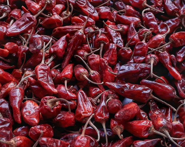 Red Full Frame Backgrounds No People Abundance Large Group Of Objects Indoors  Freshness Close-up Chillies Red Pungent
