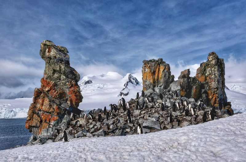 Rocks on snow covered land against sky