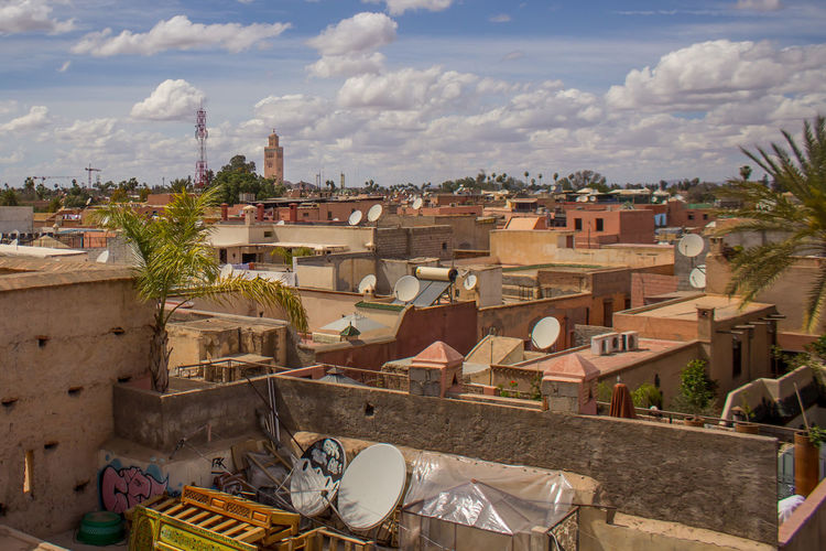 Roofs of Morocco Architecture Architecture Blue Building Building Exterior Built Structure City City Cityscape Clouds Light Marrakech Marrakesh Medina Morocco Old Residential Building Roof Roofs Sky Street Sun Travel Travel Destinations Urban