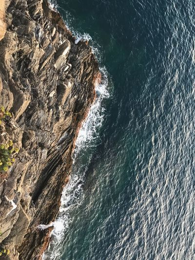 Water at the bottom of the cliff. Blue Wave Water_collection Cliff Water Sea Nature Beauty In Nature Tranquility Day Land Outdoors Sunlight High Angle View Scenics - Nature Wave Tranquil Scene Rock Rock - Object No People Beach