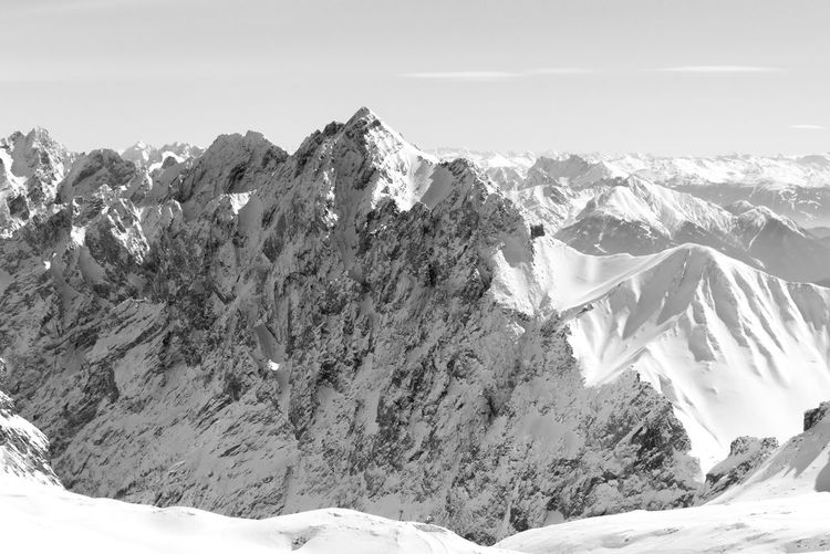 Black And White Landscape Nature Tranquility Bavarian Alps Black & White Mountains Dramatic Landscape View From Above Light And Shadow Backgrounds Scenics Scenic Landscapes Alps Bavaria Aerial View Majestic Travel Bavarian Landscape Grainau Mountain Snow Cold Temperature Winter Snowcapped Mountain Rock - Object Sky Mountain Range Landscape Rock Formation