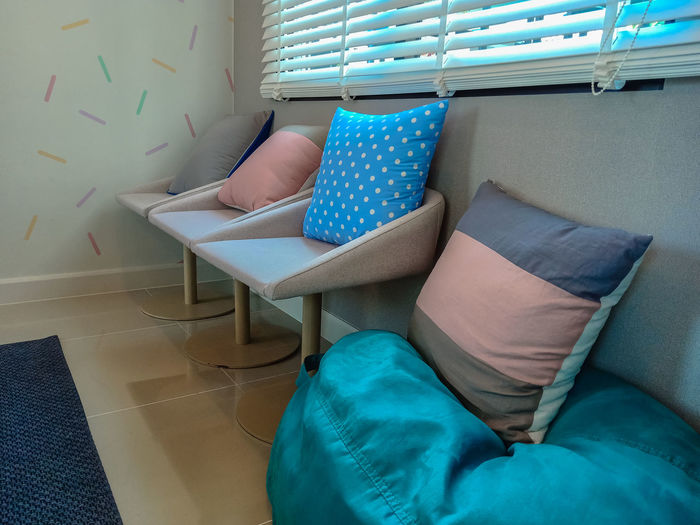 Cushions on chairs at home