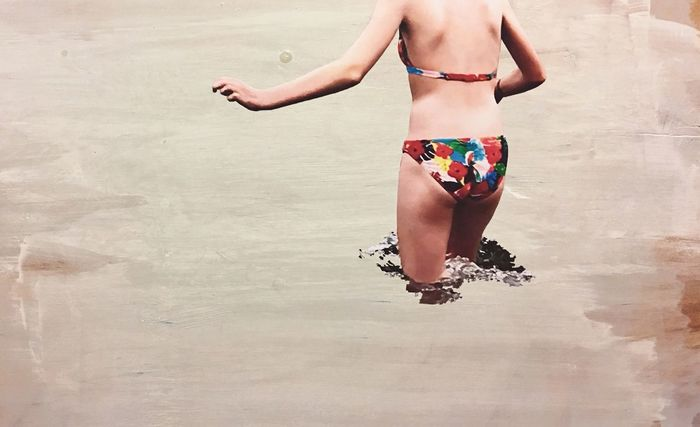 Marija Behrendt Papercut Paper Wood Mixed Media Art Gray Grey Cold Water Collage One Person Swimwear Clothing Bikini Beach Women Human Body Part Holiday Leisure Activity Summer Vacations Lifestyles Bikini Bottom Outdoors Trip