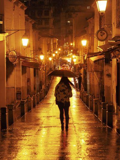 Macao after rain Rain Illuminated Night Wet Street Walking City