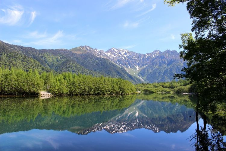 No People Mountain View Beauty In Nature Japan Photography Japan River Mirror Nature Photography 山 大正池 上高地 日本 長野 Alps Green Color Nature Tree Water Mountain Lake Symmetry Reflection Pinaceae Sky Mountain Range Reflection Lake Pine Woodland Woods Forest The Great Outdoors - 2019 EyeEm Awards
