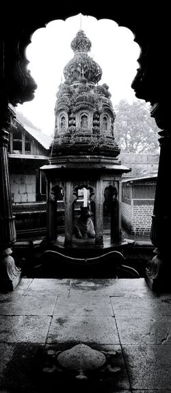 In the rains, in the temple, with my friends, just listening to the sound of drops,,, ooh nostalgia... Temple B&w India