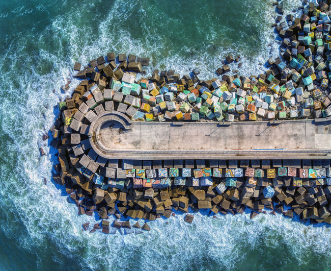 Aerial view of the cubes of memory by agustin ibarrola in llanes port, asturias in spain.