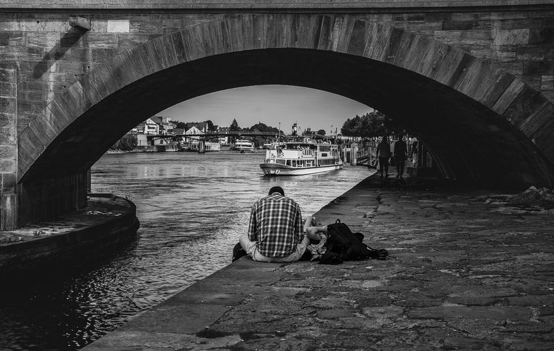Arch Bridge Architecture Below Boat Bridge Bridge - Man Made Structure Built Structure Canal Connection Day Love Mode Of Transport Nautical Vessel Outdoors People River Sailing Tourism Transportation Travel Travel Destinations Water Monochrome Photography The Street Photographer - 2017 EyeEm Awards The Street Photographer - 2018 EyeEm Awards