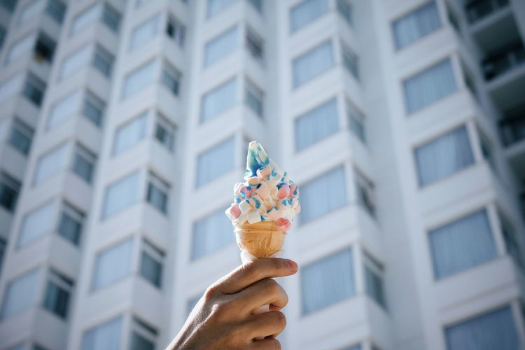 Was a strange day overall. This is a normal result of it. Ice Cream Icecream Food Sweet Food Hand Human Body Part People Human Hand Holding Celebration City Personal Perspective Human Finger Close-up Architecture Sweet Food Building Exterior Ice Cream Cone Frozen Food Frozen Sweet Food Flavored Ice Serving Scoop The Still Life Photographer - 2018 EyeEm Awards The Creative - 2018 EyeEm Awards #urbanana: The Urban Playground My Best Travel Photo