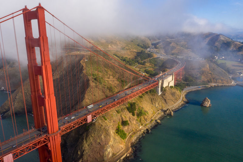 Panoramic view of suspension bridge over sea
