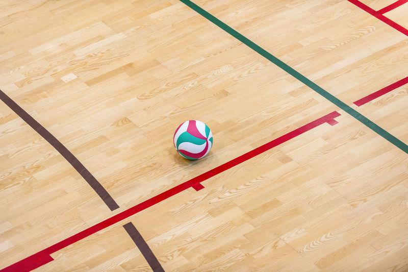 High angle view of basketball hoop on hardwood floor