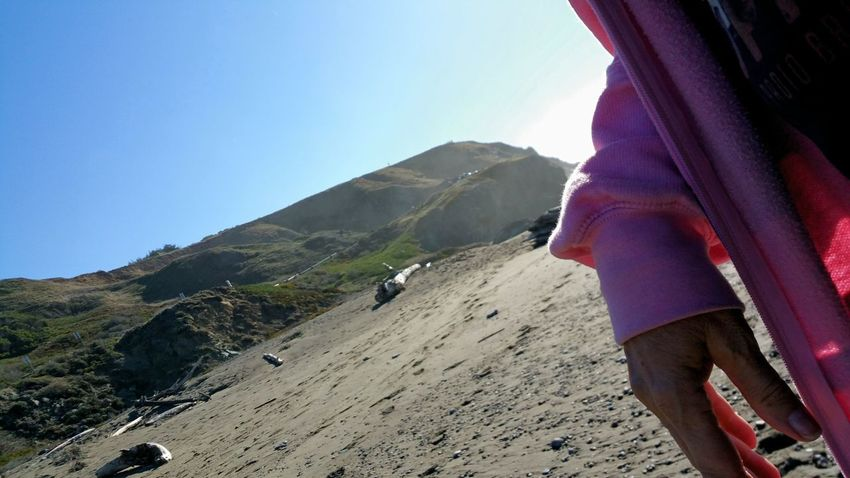 Hike Jacket Beach Walking Hiking Pink Beach Sky Distance Zen Copy Space Rewilding Mountain One Person Adult People Adventure Nature Sport Real People