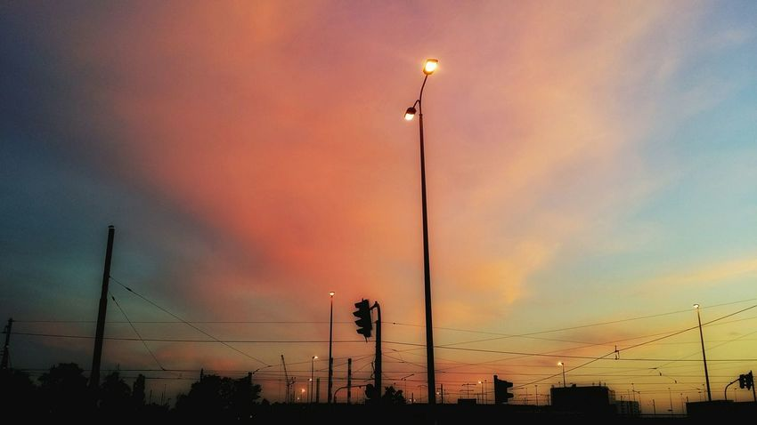 Colorful Sunset_collection Evening Glow Tram Overhead Lines Streetphotography