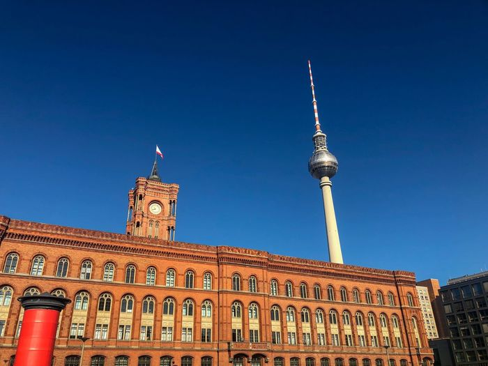 Rotes Rathaus Berlin Fernsehturm Berlin Architecture Built Structure Building Exterior Sky Travel Destinations Travel Low Angle View Clear Sky Building History Tower City No People Blue
