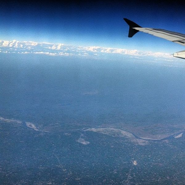 One of the most amazing shots in my experience of photography. And this covers subcontinental India from 37,000 ft. The white line at the top are the Himalayas , with the Ganges passing through the Center of the image. A brilliance of visibility. Highaltitudephotography