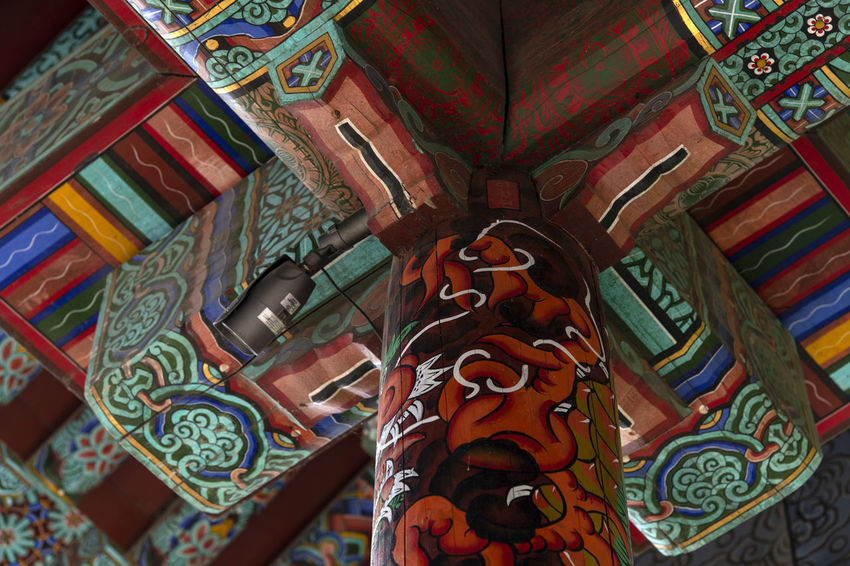 view at Bomunsa, a famous Buddhism temple in Seokmodo, Kimpo, Gyeonggido, South Korea Architecture Bomunsa Buddhism Temple Ceiling Seokmodo South Korea Belief Buddhism Outdoors Religion Religious  Temple