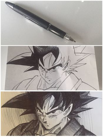 Songoku DBZ Sketch Draw Drawing Art, Drawing, Creativity EyeEm France What's On The Roll Home Is Where The Art Is Taking Photos Photography Marseille Miami Tokyo Art Blackandwhite Pen Bic