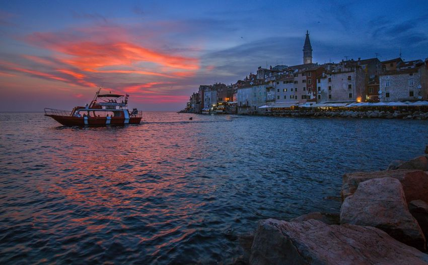 Horizon Over Water Travel Destinations Cloud - Sky Sunset Cityscape Sky Sea Built Structure Building Exterior Architecture Water Nautical Vessel Waterfront Transportation Residential District Town House Rovinj By Night