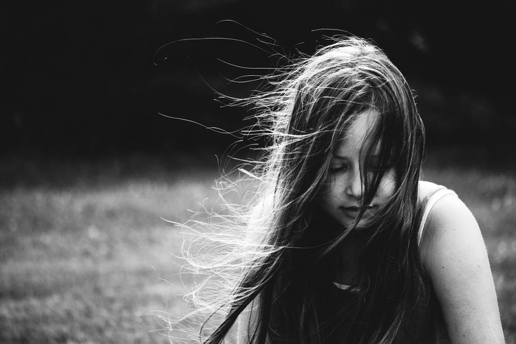 Child Childhood Close-up Focus On Foreground Girls Lifestyles Long Hair Monochrome One Person Outdoors People Portrait Real People