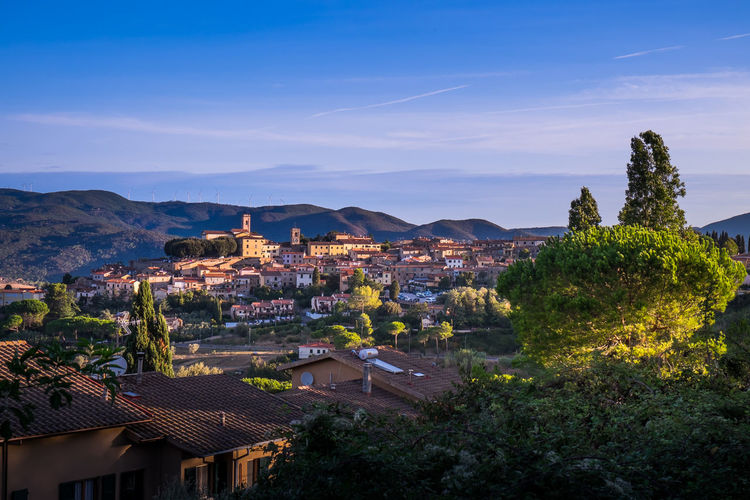 Montescudaio, Tuscany, Italy, panoramic view at the first dawn lights Ancient Architecture Exterior Building; Abandoned; Old; Exterior; Broken; City; Factory; Industrial; Destruction; Buildings; Ruins; Warehouse; Nobody; Architecture; Wall; Structure; Urban; Grunge; Construction; Dirty; Industry; Destroyed; Background; Vintage; Decay; Empty; Demolished; Casale Countryside Destination Etruschi Hill