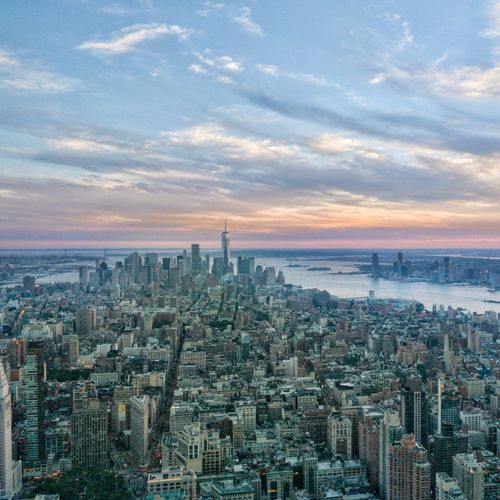 Concrete Jungle Where Dreams Are Made Of 🗽 New York New York City Manhattan EyeEm Selects City Cityscape Urban Skyline Modern Skyscraper Sunset Aerial View Downtown District Business Finance And Industry Tower Urban Sprawl Tall - High District
