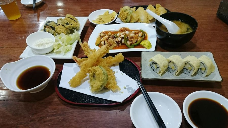 At A Japanese Restaurant Tempura Sushi Miso Soup Delicious ♡ Food Porn Food Foodphotography Enhance Enhanced Xperiaz2 in Yangon , Myanmar Food Art Food Collection Showcase March Snack