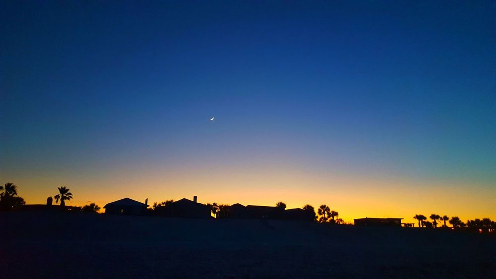 Clear Blue Sky Crescent Moon Landscape Moon And Sky Moon And Sunset Night Night Sky Scenics Silhouette Sunset Tranquil Scene