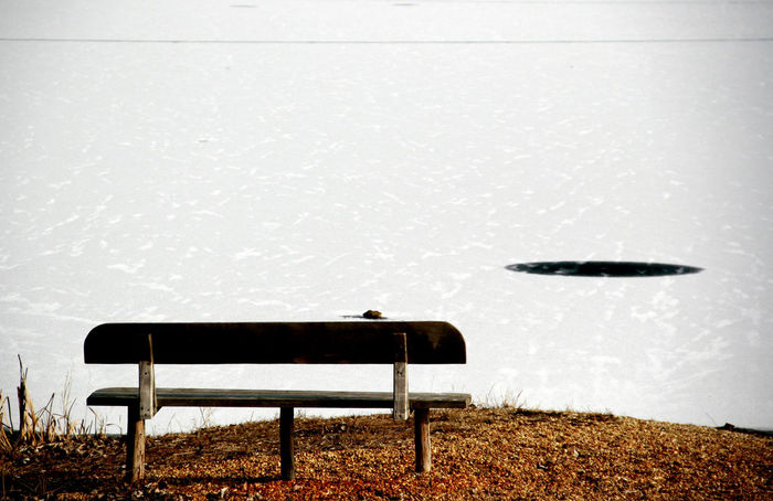 Bench Cold Empty Frozenlake Hole On Ice Icelake Lonelyness No People Winterlake