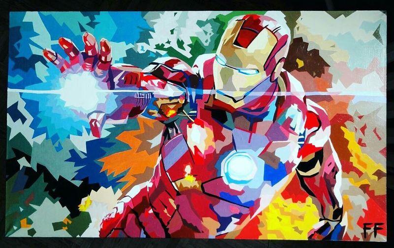 Draw Art Wpap Wpapart Iron Man Fan Art Superheroes Colors Multi Colored Nancypanda Freon Fairy Picture Painting Hobby Acrylic Painting Acryl