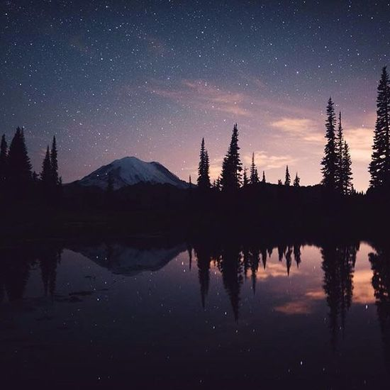 Reflection Night Sky Lake Mountain Silhouette Astronomy Constellation Outdoors Nature Space Tree Galaxy