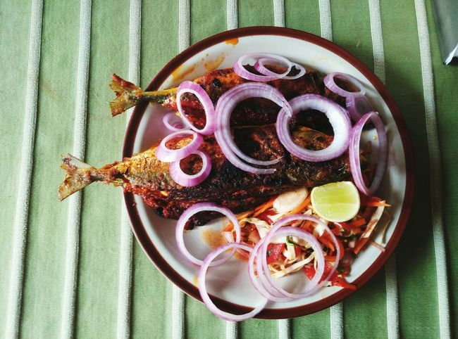 Food for the soul Mackerel Mackerel Fish Directly Above Table High Angle View Close-up Food And Drink Served Tablecloth Ready-to-eat Plate Dish Overhead View Prepared Food