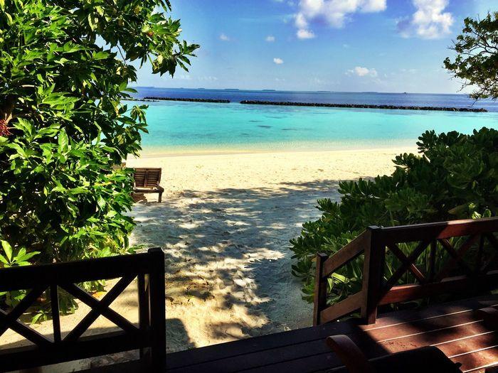 Maldives Maldivesphotography Beachvilla Villa Resort Luxury Water Tree Sea Sunlight Tranquil Scene Bench Sky Scenics Railing Tranquility Blue Solitude Vacations Travel Relaxation Leisure Destination Tropical Exotic