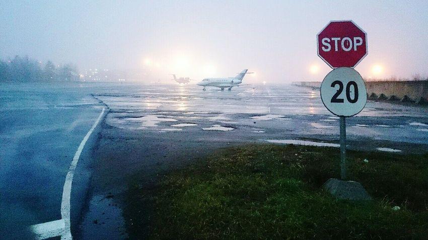 Fog Plane Signs Morning Airport Pulkovo