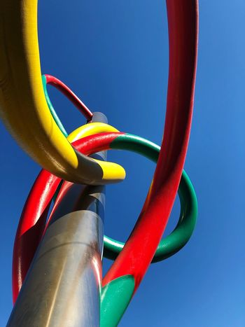 Cadorna Station Milan Street Art Beauty Complexity Statue Multi Colored Color Multi Blue No People Close-up Multi Colored Red Day Clear Sky Sky Nature Outdoors Rope Still Life Low Angle View Sunlight Hanging Playground Connection Metal Water Outdoor Play Equipment