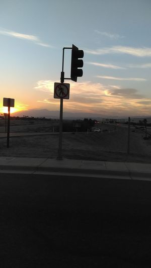 Street Sign Stop Light No Walking Sunset California Just Got Done Working Off Work Lovely Site Goodnight World Check This Out In Motion Quick Pic First Pic In A While With Husband Going Home Warm Weather Beautiful Sunset