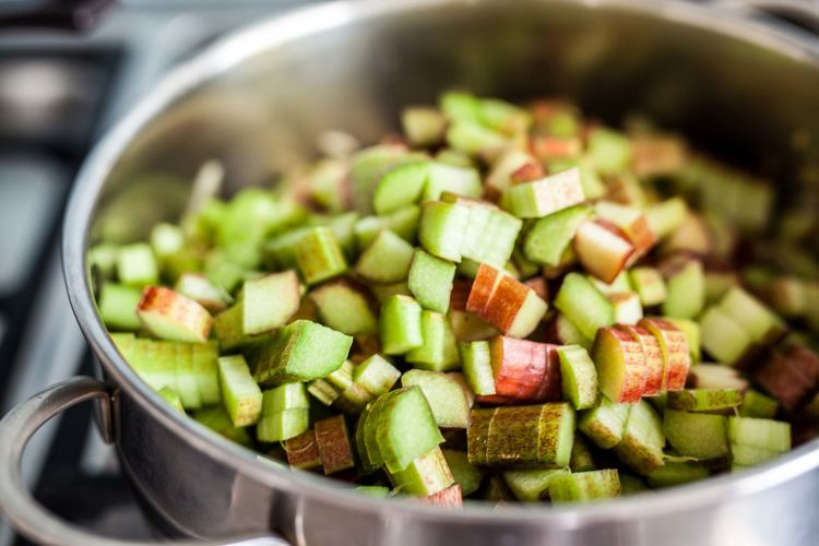 Close-up of chopped rhubarb in sauce pan
