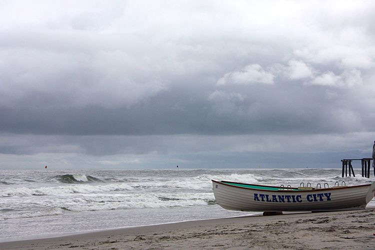 Atlantic City Beach Photography Cloudy Day Boats And Clouds Boats⛵️ Beached Boat Beaches Of The World Gloomy Day Gloomy Weather Atlantic Beach Boat On The Beach Boat By The Ocean