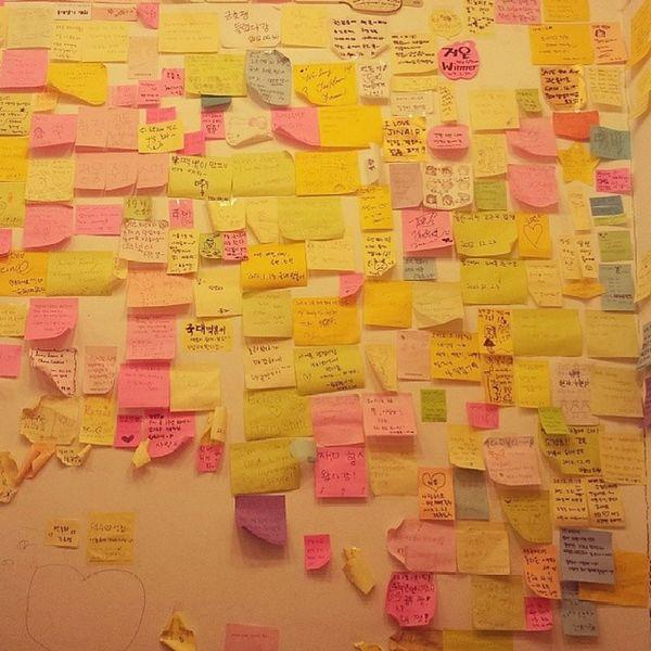 dinding penuh dengan memo Wall Memo Insadong Korea