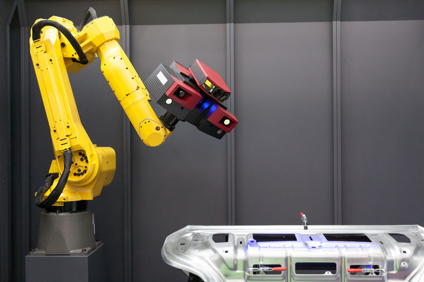 Automated scanning. 3D Scanner mounted on robotic arm. 3D Camera Industry Machine Measuring Metrology Automated Computer Control Coordinate Data Engineering Factory Inspecting Manufacturing Manufacturing Equipment Measurement Optical Robot Robotic Arm Scan Scanner  Scanning Technology