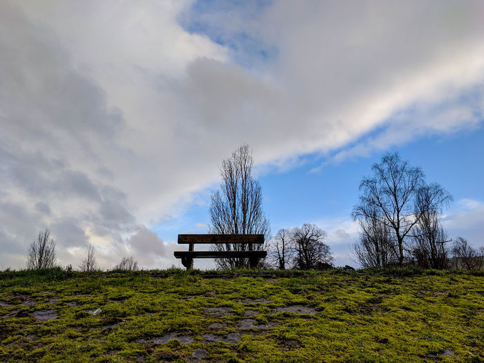a bench Winter Wales Tree Rural Scene Storm Cloud Sky Cloud - Sky Landscape Park Bench Park - Man Made Space Tranquility Tranquil Scene Idyllic Bench Scenics Non-urban Scene Countryside Calm