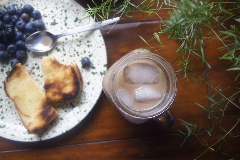 Always Be Cozy Coffee Grilled Cheese Home Mason Jar Homemade Blueberries Plate Desk Breakfast Morning USA