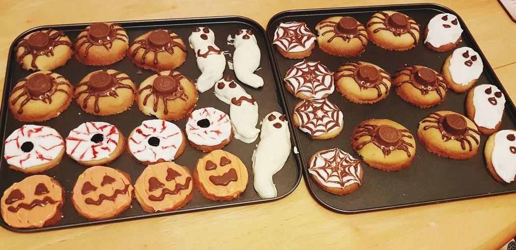 Halloween biscuits Halloween Horrors Halloween Fun Sickfood Scaryfood Ghosts Pumpkins Eyeballs  Spiders EyeEm Selects No People Indoors  Food