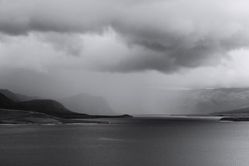 Lurking storm. Water Nature No People Outdoors Sea Storm Cloud Sky Day Scotland Tranquility North Coast 500 Nc500 Travel Destinations Landscape Horizon Over Water Clouds Black And White Blackandwhite Photography Black & White Darkness Oil Pump